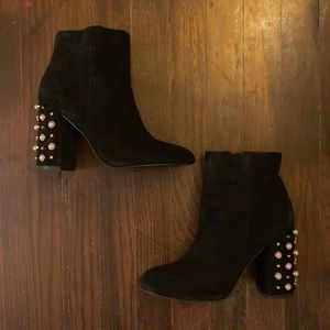 STEVE MADDEN Yvette Suede Leather Studded Booties